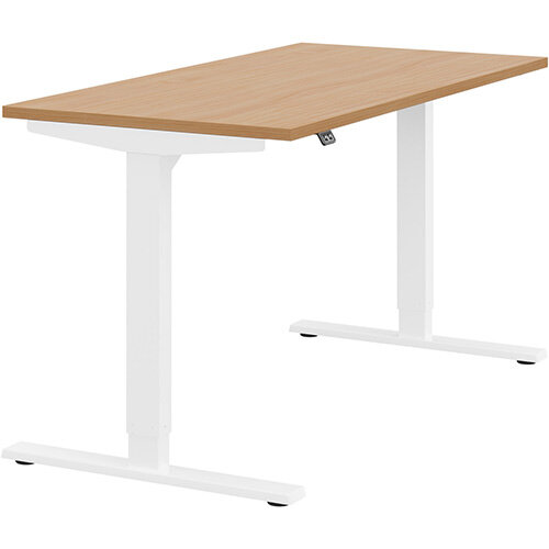 Zoom Height Adjustable Sit Stand Office Desk Plain Top W1400mmxD700mmxH685-1185mm Beech Top White Frame - Prevents &Reduces Muscle &Back Problems, Poor Circulation &Increases Brain Activity.