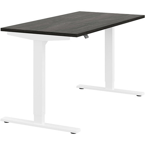 Zoom Height Adjustable Sit Stand Office Desk Plain Top W1400mmxD700mmxH685-1185mm Carbon Walnut Top White Frame - Prevents &Reduces Muscle &Back Problems, Poor Circulation &Increases Brain Activity.