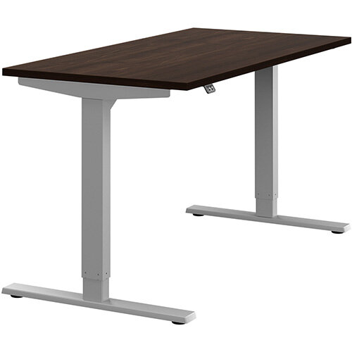 Zoom Height Adjustable Sit Stand Office Desk Plain Top W1400mmxD700mmxH685-1185mm Dark Walnut Top Silver Frame - Prevents &Reduces Muscle &Back Problems, Poor Circulation &Increases Brain Activity.