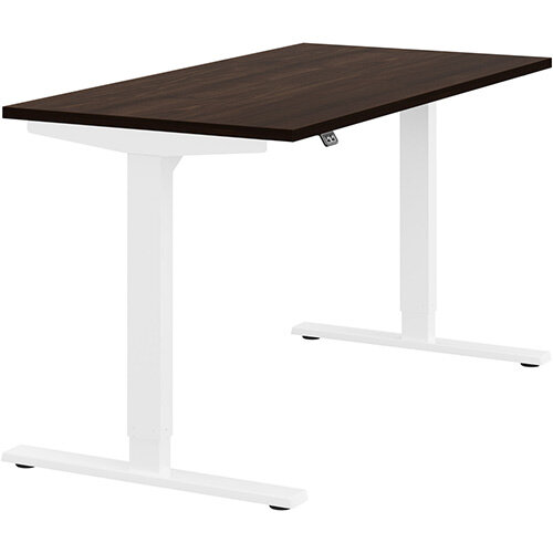 Zoom Height Adjustable Sit Stand Office Desk Plain Top W1400mmxD700mmxH685-1185mm Dark Walnut Top White Frame - Prevents &Reduces Muscle &Back Problems, Poor Circulation &Increases Brain Activity.