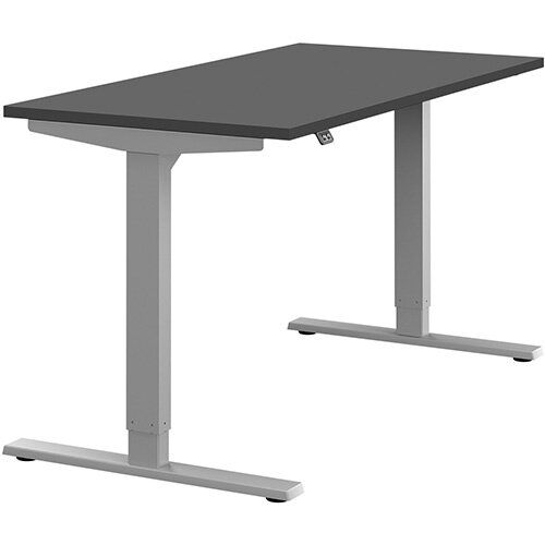 Zoom Height Adjustable Sit Stand Office Desk Plain Top W1400mmxD700mmxH685-1185mm Graphite Top Silver Frame - Prevents &Reduces Muscle &Back Problems, Poor Circulation &Increases Brain Activity.