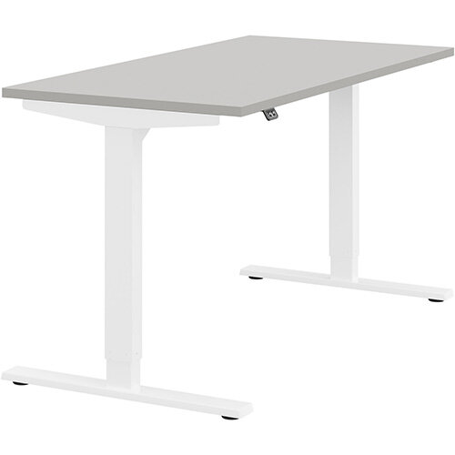 Zoom Height Adjustable Sit Stand Office Desk Plain Top W1400mmxD700mmxH685-1185mm Grey Top White Frame - Prevents &Reduces Muscle &Back Problems, Poor Circulation &Increases Brain Activity.