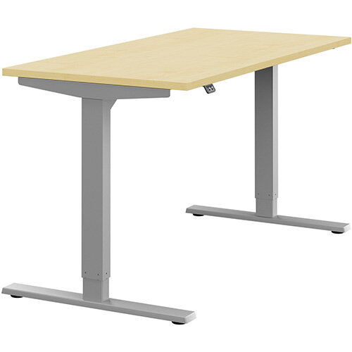 Zoom Height Adjustable Sit Stand Office Desk Plain Top W1400mmxD700mmxH685-1185mm Maple Top Silver Frame - Prevents &Reduces Muscle &Back Problems, Poor Circulation &Increases Brain Activity.