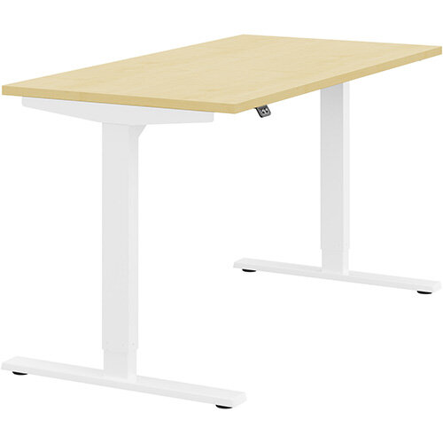 Zoom Height Adjustable Sit Stand Office Desk Plain Top W1400mmxD700mmxH685-1185mm Maple Top White Frame - Prevents &Reduces Muscle &Back Problems, Poor Circulation &Increases Brain Activity.