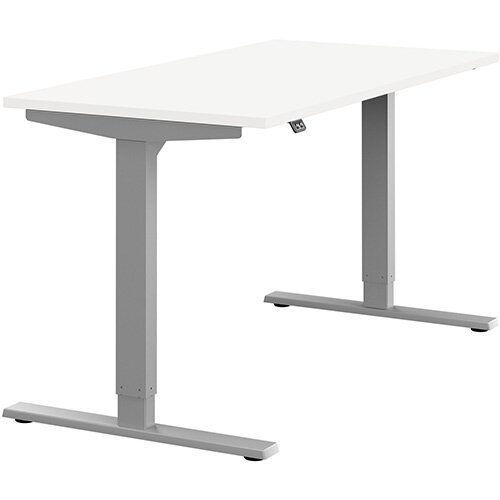 Zoom Height Adjustable Sit Stand Office Desk Plain Top W1400mmxD700mmxH685-1185mm White Top Silver Frame - Prevents &Reduces Muscle &Back Problems, Poor Circulation &Increases Brain Activity.