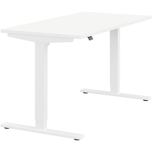 Zoom Height Adjustable Sit Stand Office Desk Plain Top W1400mmxD700mmxH685-1185mm White Top White Frame - Prevents &Reduces Muscle &Back Problems, Poor Circulation &Increases Brain Activity.