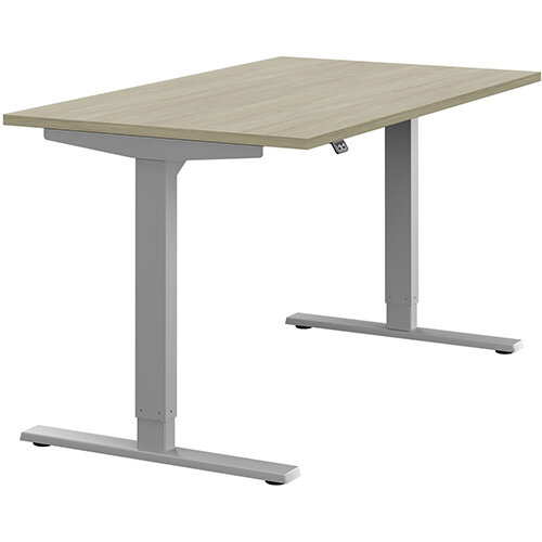Zoom Height Adjustable Sit Stand Office Desk Plain Top W1400mmxD800mmxH685-1185mm Arctic Oak Top Silver Frame - Prevents &Reduces Muscle &Back Problems, Poor Circulation &Increases Brain Activity.