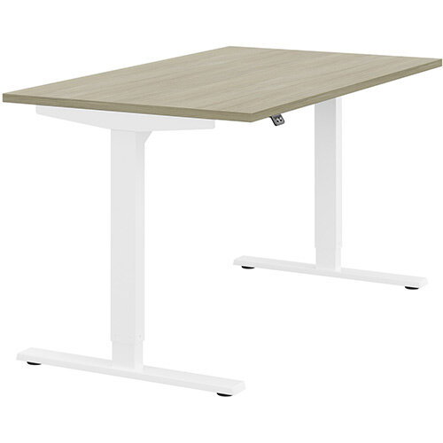 Zoom Height Adjustable Sit Stand Office Desk Plain Top W1400mmxD800mmxH685-1185mm Arctic Oak Top White Frame - Prevents &Reduces Muscle &Back Problems, Poor Circulation &Increases Brain Activity.