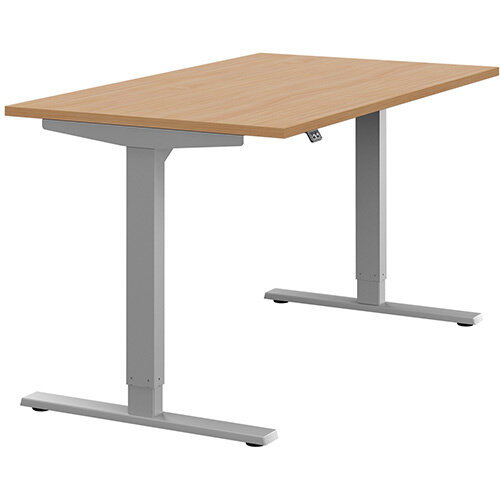 Zoom Height Adjustable Sit Stand Office Desk Plain Top W1400mmxD800mmxH685-1185mm Beech Top Silver Frame - Prevents &Reduces Muscle &Back Problems, Poor Circulation &Increases Brain Activity.