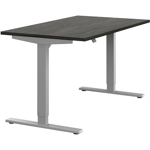Zoom Height Adjustable Sit Stand Office Desk Plain Top W1400mmxD800mmxH685-1185mm Carbon Walnut Top Silver Frame - Prevents &Reduces Muscle &Back Problems, Poor Circulation &Increases Brain Activity.