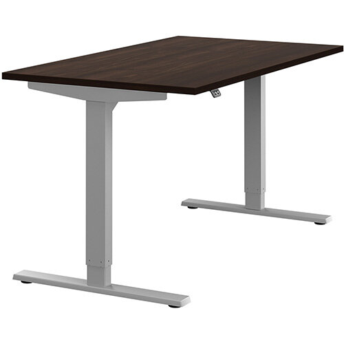 Zoom Height Adjustable Sit Stand Office Desk Plain Top W1400mmxD800mmxH685-1185mm Dark Walnut Top Silver Frame - Prevents &Reduces Muscle &Back Problems, Poor Circulation &Increases Brain Activity.