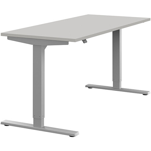 Zoom Height Adjustable Sit Stand Office Desk Plain Top W1600mmxD700mmxH685-1185mm Grey Top Silver Frame - Prevents &Reduces Muscle &Back Problems, Poor Circulation &Increases Brain Activity.