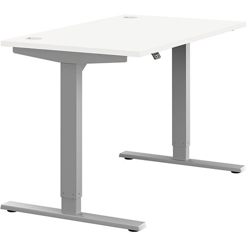 Zoom Height Adjustable Sit Stand Office Desk Portal Top W1200mmxD700mmxH685-1185mm White Top Silver Frame - Prevents &Reduces Muscle &Back Problems, Poor Circulation &Increases Brain Activity.