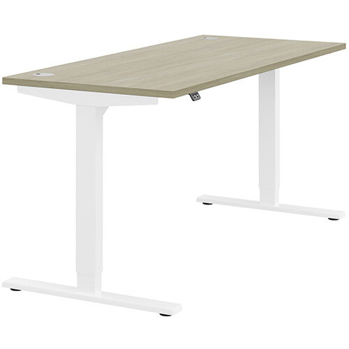 Zoom Height Adjustable Sit Stand Office Desk Portal Top W1600mmxD700mmxH685-1185mm Arctic Oak Top White Frame - Prevents &Reduces Muscle &Back Problems, Poor Circulation &Increases Brain Activity.