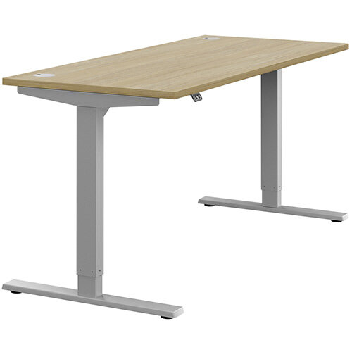 Zoom Height Adjustable Sit Stand Office Desk Portal Top W1600mmxD700mmxH685-1185mm Urban oak Top Silver Frame - Prevents &Reduces Muscle &Back Problems, Poor Circulation &Increases Brain Activity.