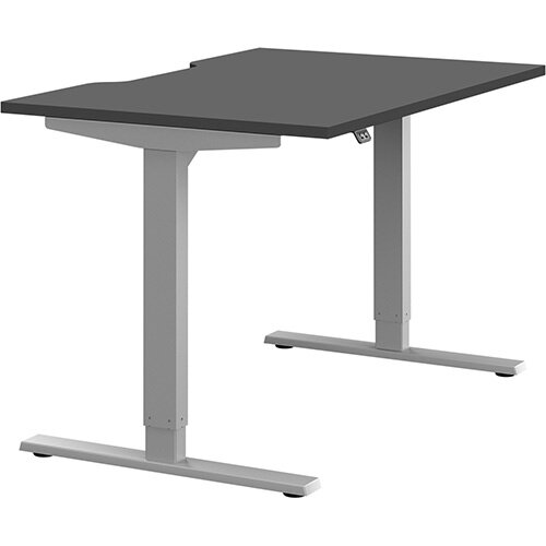 Zoom Height Adjustable Sit Stand Office Desk Scallop Top W1200mmxD800mmxH685-1185mm Graphite Top Silver Frame - Prevents &Reduces Muscle &Back Problems, Poor Circulation &Increases Brain Activity.