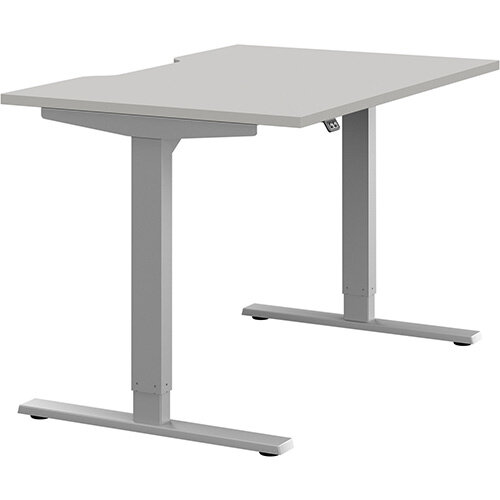 Zoom Height Adjustable Sit Stand Office Desk Scallop Top W1200mmxD800mmxH685-1185mm Grey Top Silver Frame - Prevents &Reduces Muscle &Back Problems, Poor Circulation &Increases Brain Activity.