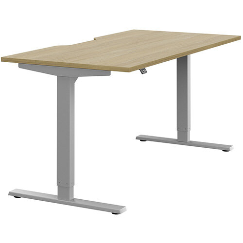 Zoom Height Adjustable Sit Stand Office Desk Scallop Top W1600mmxD800mmxH685-1185mm Urban Oak Top Silver Frame - Prevents &Reduces Muscle &Back Problems, Poor Circulation &Increases Brain Activity.