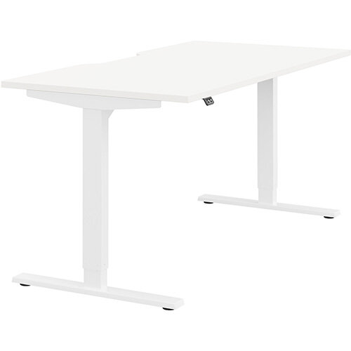 Zoom Height Adjustable Sit Stand Office Desk Scallop Top W1600mmxD800mmxH685-1185mm White Top White Frame - Prevents &Reduces Muscle &Back Problems, Poor Circulation &Increases Brain Activity.