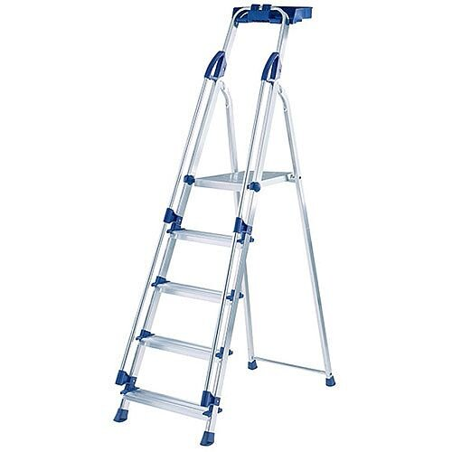 Abru Blue Seal 5-Tread Professional Aluminium Step Height 1.03m Ladder Silver 10505
