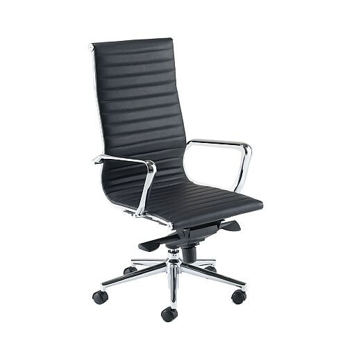 Aria A High Back Black Modern Leather Office Armchair With Chrome Arms And Base Ah1