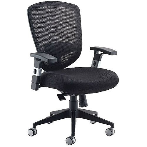 Arista Mesh High Back Task Operator Office Chair Black - suitable for use 8 hours a day - Height-adjustable Arms - perfect for office or home office use