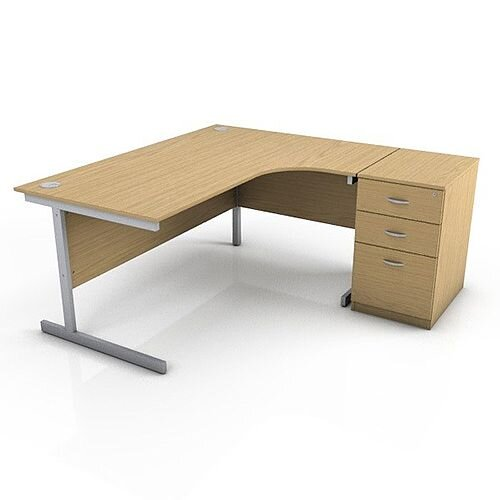 Ashford 1600mm Right Hand Radial Office Desk Metal Leg With FREE Desk High Pedestal BEECH