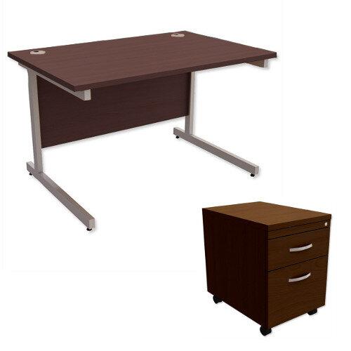 Office Desk Rectangular Silver Legs W1200mm With Mobile 2-Drawer Pedestal Dark Walnut Ashford