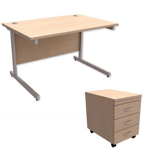 Office Desk Rectangular Silver Legs W1200mm With Mobile 3-Drawer Pedestal Maple Ashford