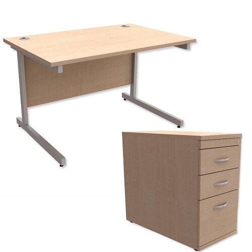 Office Desk Rectangular Silver Legs W1200mm With 800mm Deep Desk High Pedestal Maple Ashford