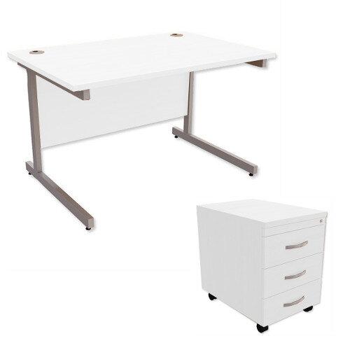Office Desk Rectangular Silver Legs W1200mm With Mobile 3-Drawer Pedestal White Ashford