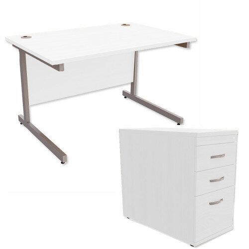 Office Desk Rectangular Silver Legs W1200mm With 800mm Deep Desk High Pedestal White Ashford