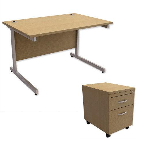 Office Desk Rectangular Silver Legs W1200mm With Mobile 2-Drawer Pedestal Urban Oak Ashford  – Cantilever Desk &Extra Storage , 25 Year Warranty