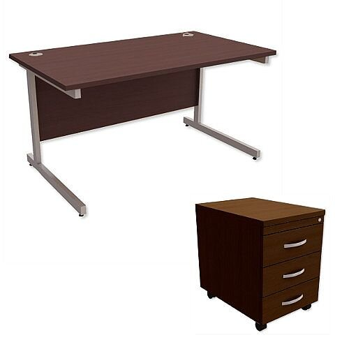 Office Desk Rectangular Silver Legs W1400mm With Mobile 3-Drawer Pedestal Dark Walnut Ashford