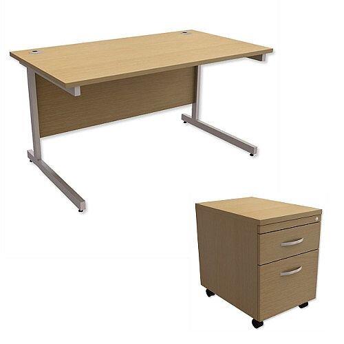 Office Desk Rectangular Silver Legs W1400mm With Mobile 2-Drawer Pedestal Urban Oak Ashford  – Cantilever Desk &Extra Storage , 25 Year Warranty