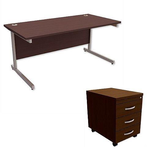 Office Desk Rectangular Silver Legs W1600mm With Mobile 3-Drawer Pedestal Dark Walnut Ashford