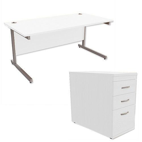 Office Desk Rectangular Silver Legs W1600mm With 800mm Deep Desk High Pedestal White Ashford