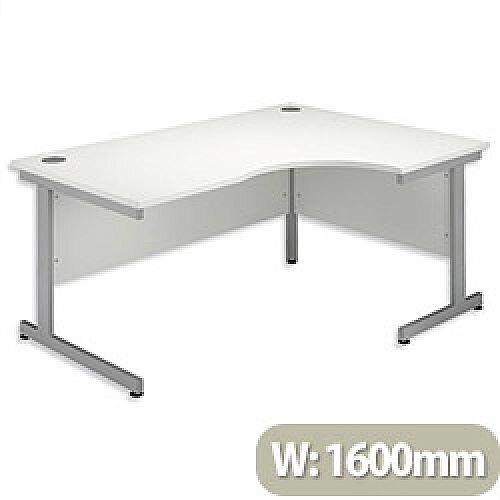Office Desk Radial Right Hand Silver Legs W1600xD1200xH725mm White Ashford