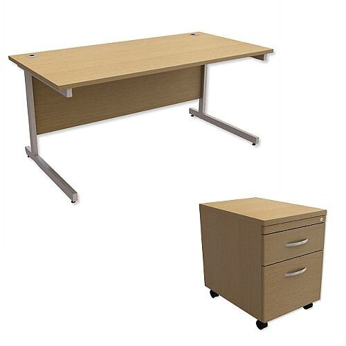 Office Desk Rectangular Silver Legs W1600mm With Mobile 2-Drawer Pedestal Urban Oak Ashford – Cantilever Desk &Extra Storage , 25 Year Warranty