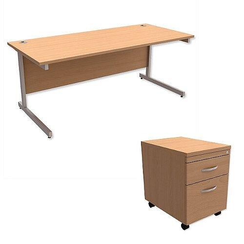 Office Desk Rectangular Silver Legs W1800mm With Mobile 2-Drawer Pedestal Beech Ashford