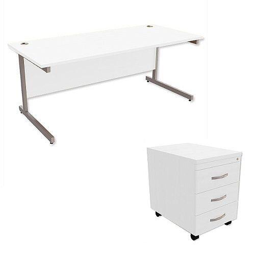 Office Desk Rectangular Silver Legs W1800mm With Mobile 3-Drawer Pedestal White Ashford