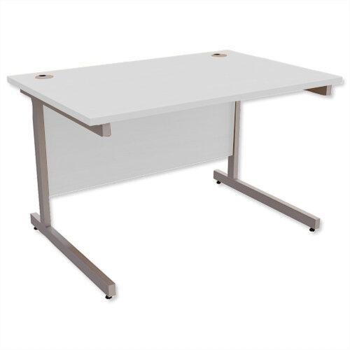 Office Desk Rectangular Silver Legs W1200mm Grey Ashford