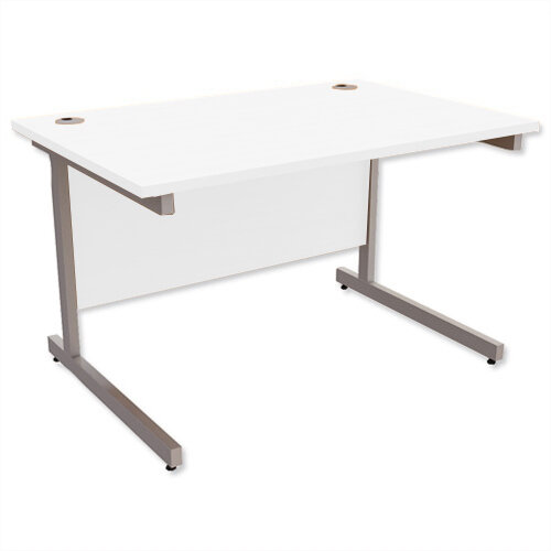 Office Desk Rectangular Silver Legs W1200mm White Ashford