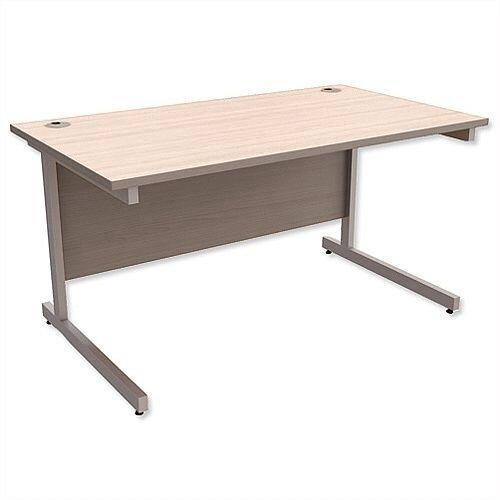 Office Desk Rectangular Silver Legs W1400mm Arctic Oak Ashford