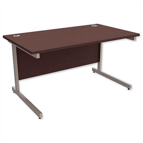 Office Desk Rectangular Silver Legs W1400mm Dark Walnut Ashford
