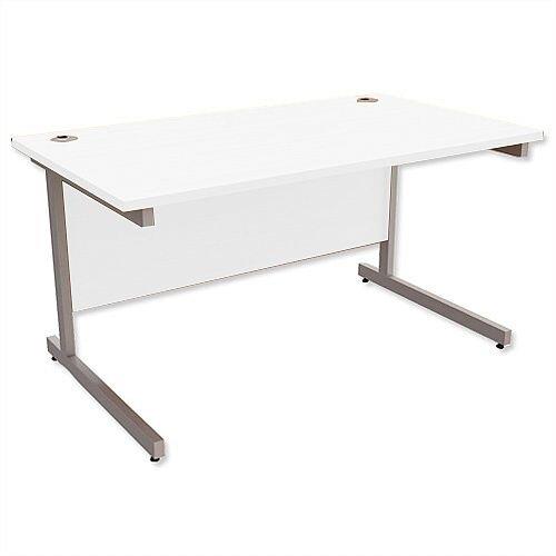 Office Desk Rectangular Silver Legs W1400mm White Ashford