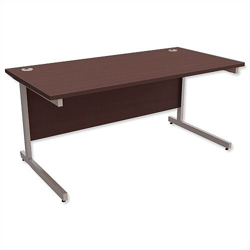 Office Desk Rectangular Silver Legs W1600mm Dark Walnut Ashford