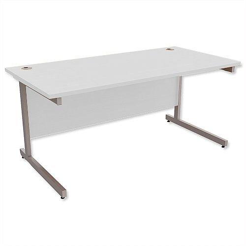 Office Desk Rectangular Silver Legs W1600mm Grey Ashford