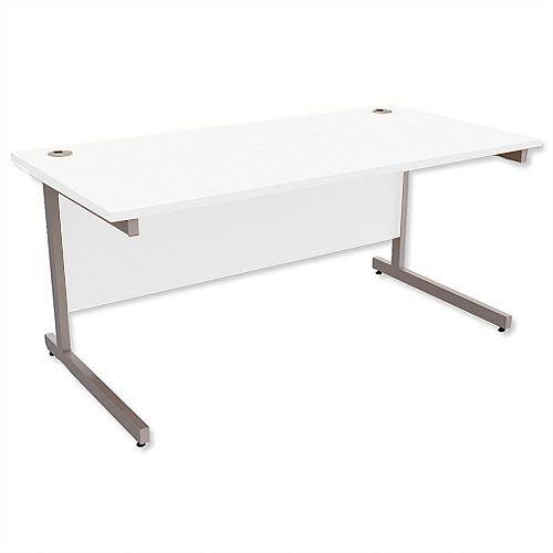 Office Desk Rectangular Silver Legs W1600mm White Ashford