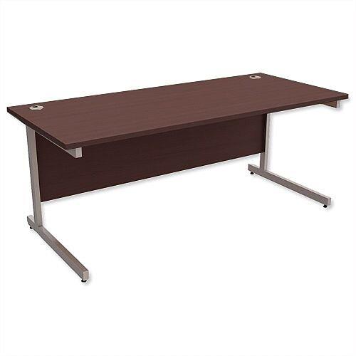 Office Desk Rectangular Silver Legs W1800mm Dark Walnut Ashford